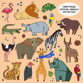 African animals hand drawn illustration vector set. — Stock Vector