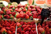 Strawberries on market's stall with price on a plate, Barcelona's market La Boqueria, Spain — Stock Photo