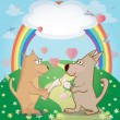 Cute dogs and hearts in the meadow . Illustration of pair of pets and rainbow. Can be used as card — Stock Vector #55944263