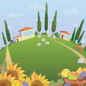 Village landscape with sunflowers and fruit. Farm sheep and harvest — Stock Vector