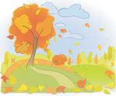 Autumn tree and sky. Landscape.  Rain and yellow leaves. Meadow and forest — Stock Vector