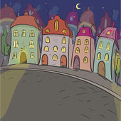 Illustration of old night city. Sketch of little town — Stockvector