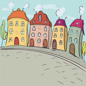 The street sketches in the old city. Illustration of  little town  — Stock Vector
