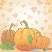 Background with pumpkin and leaves. Can be used as card for Haloween  and autumn pattern — Stock Vector