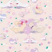 Seamless pattern with cute bunnies and hearts  on pink background  — Stockvector