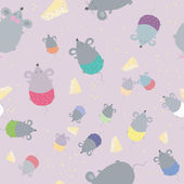Seamless pattern with mice. Children's texture  — Stock Vector