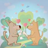 Cute dogs and hearts . Illustration about true love with pair of funny pets. Can be used as card   — Stock Vector