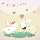 Cute bunnies and hearts .  illustration of rabbits and love — Stock Vector