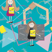Seamless student texture with teacher and  books.  Teacher Day — Stock Vector