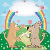 Cute dogs and hearts in the meadow . Illustration  of  pair of pets and rainbow. Can be used as card    — Stock Vector