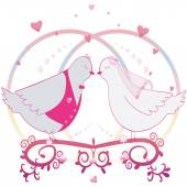 Wedding illustration. Pair of doves. Bride and groom and hearts. Can be used as card or label. Vector — Stock Vector