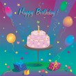 Template for Happy Birthday card with cake and ballon — Stock Vector #55955755