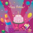 Template for Happy Birthday card with cake and ballon — Stock Vector #55955801