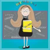 Card back to school. Cute teacher and classroom — Stock Vector