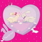 Rabbits love hearts vector card with place for text — Stock vektor