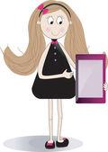 Sevimli kız kullanarak değmek tablet taşınabilir bilgisayar — Stok Vektör