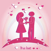 Pair of Lovers with Hearts. Vector illustration on pink background. Silhouette.  — Stock Vector