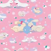 Cute seamless pattern with bunnies and hearts — Stock Vector