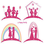 Set of happy family icons. Symbol of wedding. Family house. Pregnancy and parents with doughter and son — Stock Vector