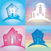 Uppsättning ikoner hus. vektor illustration — Stockvektor