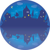 Round vector illustration  of village by night  — Stock Vector
