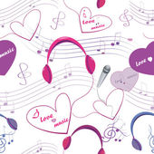 Seamless texture with microphone and headphones, note and hearts — Stock Vector
