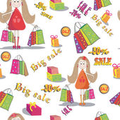 Seamless texture  of girl with bags of shopping. Background. Big sale — Stock Vector