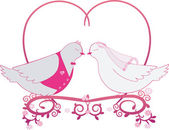 Illustration wedding pigeons and heart. Icon or card of doves — Stock Vector