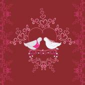 Illustration of wedding pigeons and heart. Seamless texture or card of dove — 图库矢量图片