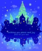 City lights,  Christmas night. Holidays concept. New Year illustration. — Stock Vector