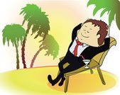 Businessman on vacation. Rich person on sea beach. Cartoon vector illustration — Wektor stockowy