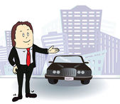 Businessman and  car. Rich man in the city. Vector — Stock Vector