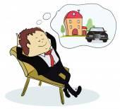 Man dreaming house and car — Stockvektor