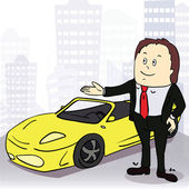 Man and comfortable car in big city. Vector illustration — Stock Vector