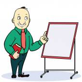 Cartoon businessman in glasses with a briefcase giving the thumbs up, explaining and pointing at blank white board, placard — Stock Vector