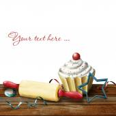 Cake, rolling pin,  molds for baking , candy and serpentine on t — ストック写真