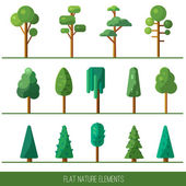 Set of nature elements: tree, spruce. Vector flat illustration. — Stock Vector
