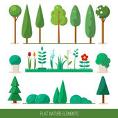 Set of nature elements: trees, spruce, bushes, flowers, grass. Vector flat illustration. — Stock Vector