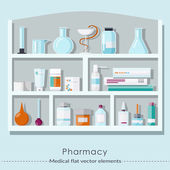 Pharmacy set in flat style. Healthcare and medical concept. Vector illustration — Stock Vector