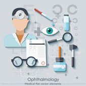 Ophthalmology set in flat style. Healthcare and medical concept. Vector illustration — Stock Vector