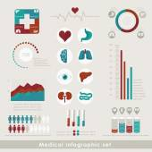 Medical Infographic set in flat style. Healthcare and medical concept. Vector illustration — Stock Vector