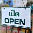 Open sign broad through the glass of window in rainy day with man holding umbrella reflected mirror. — Stock Photo #57534465
