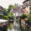 Panoramic view on canal in Petite Venice neighborhood of Colmar, — Stock Photo #57576883