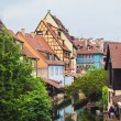 Panoramic view on canal in Petite Venice neighborhood of Colmar, — Stock Photo #57576897