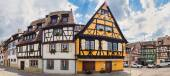 Panoramic view on old street with half timbered houses in Colmar — Stock Photo