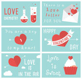Set of modern flat design illustrations of Valentines day greeting cards — Stock Vector