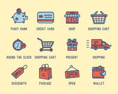 Set of icons on a theme shopping — Stock Vector