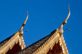 Temple double gable apex with clear blue sky — Стоковое фото