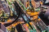 Bangkok city night light bokeh , defocused blur background — Stock Photo