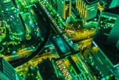Top view of blurred cityscape — Стоковое фото